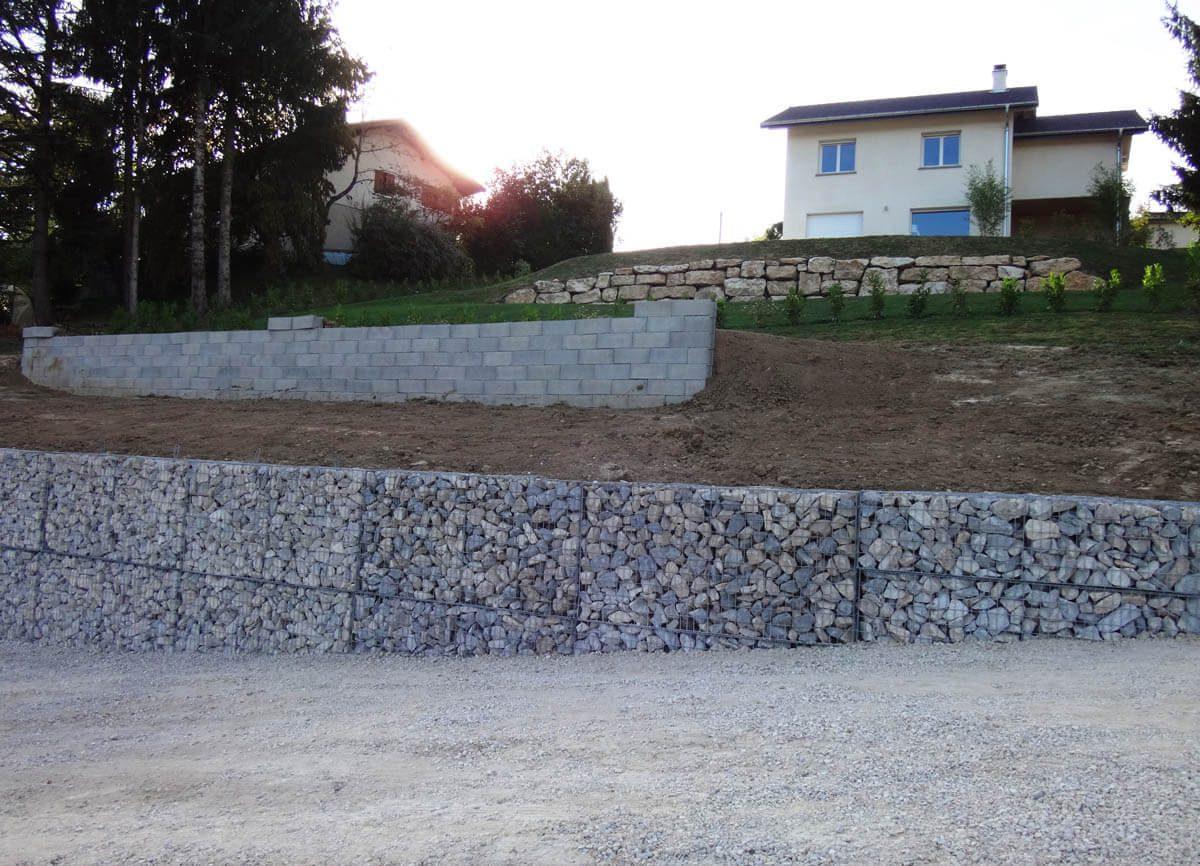 Mur en gabion, amenagements paysagers - GIRAUDON TRAVAUX PUBLICS